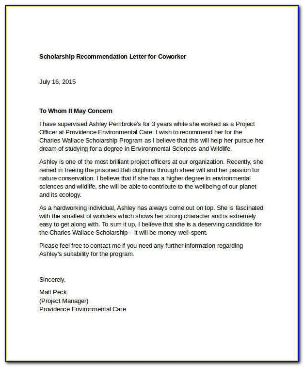 Free Sample Letter Of Recommendation For High School Student