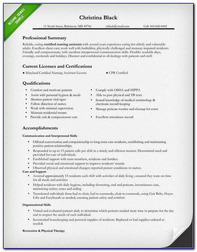 Free Sample Nursing Student Resume