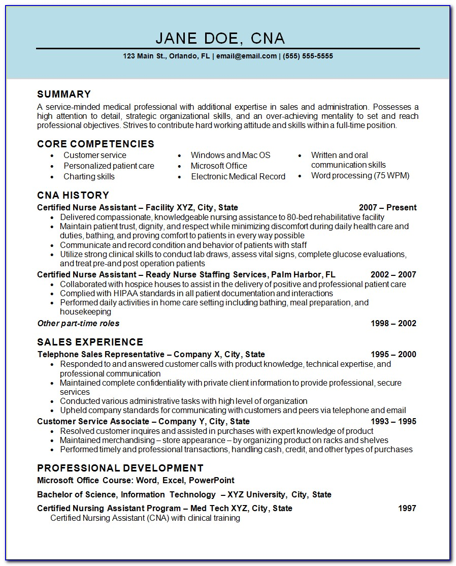 Free Sample Resume For Nursing Assistant