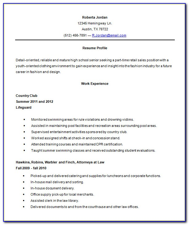 Free Sample Resumes For High School Students With No Experience