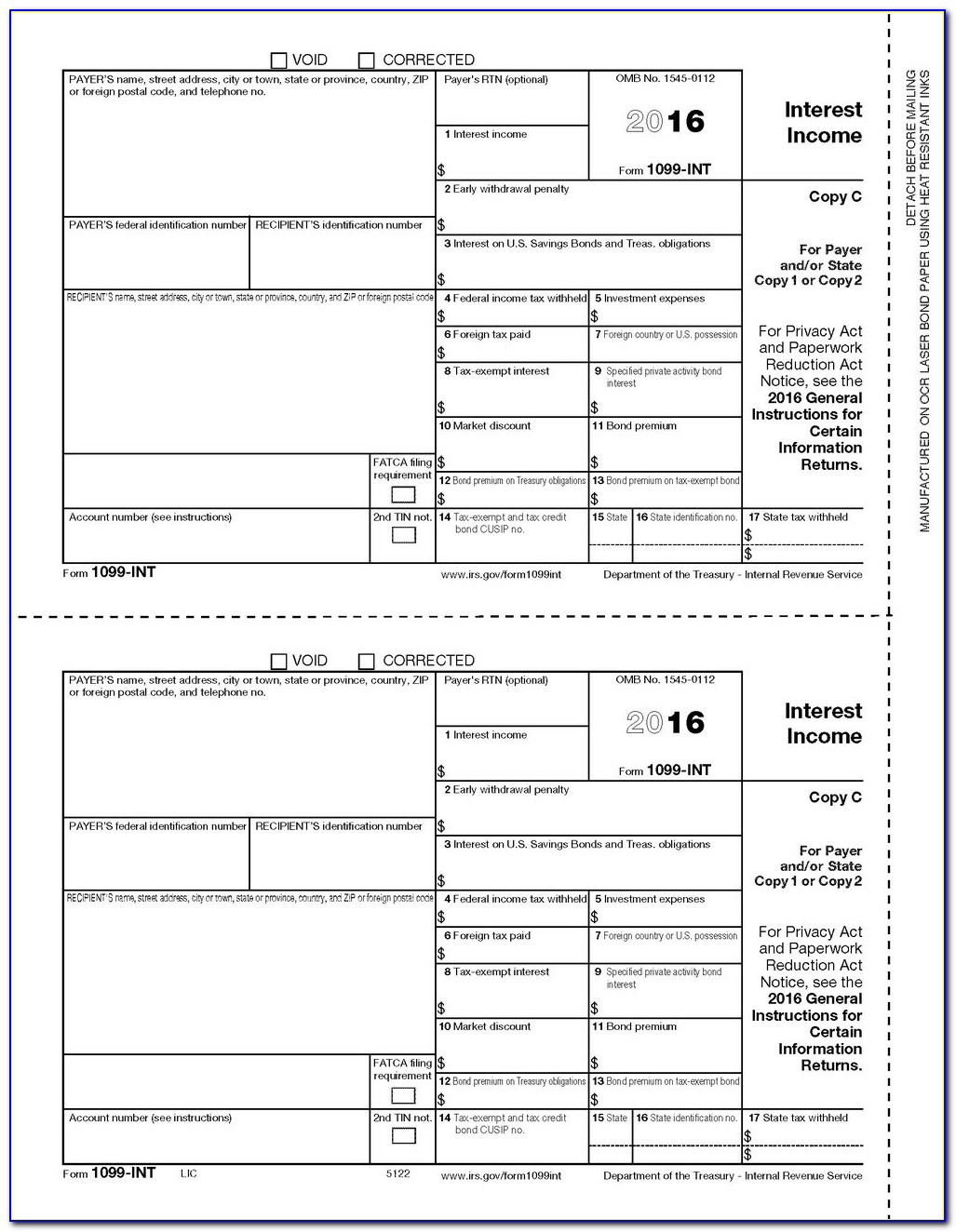1096 Form 2014 Printable Template