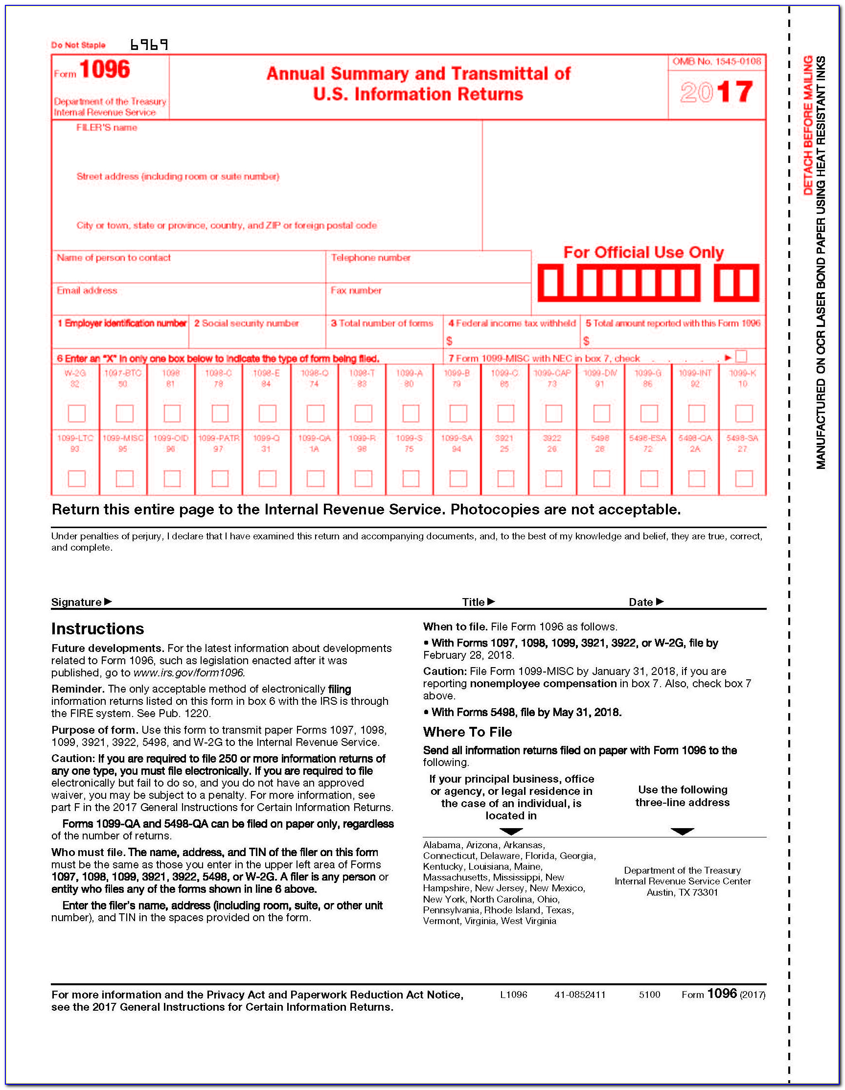 1096 Form 2016 Printable Template