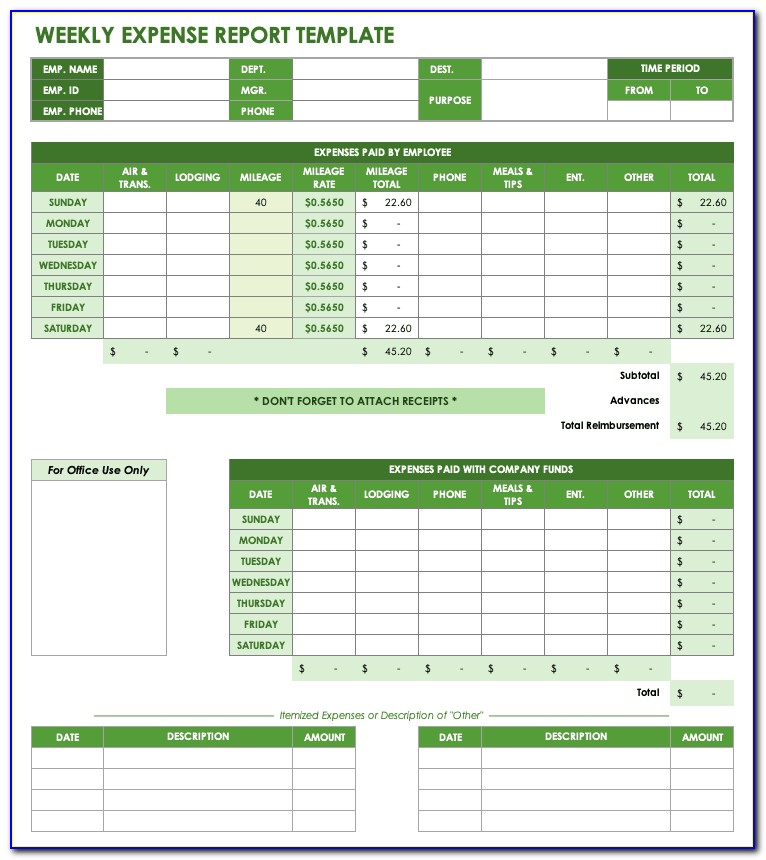 Business Expense Sheet Template Excel