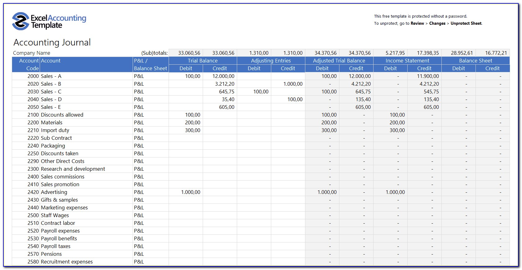 Excel Bookkeeping Template Uk