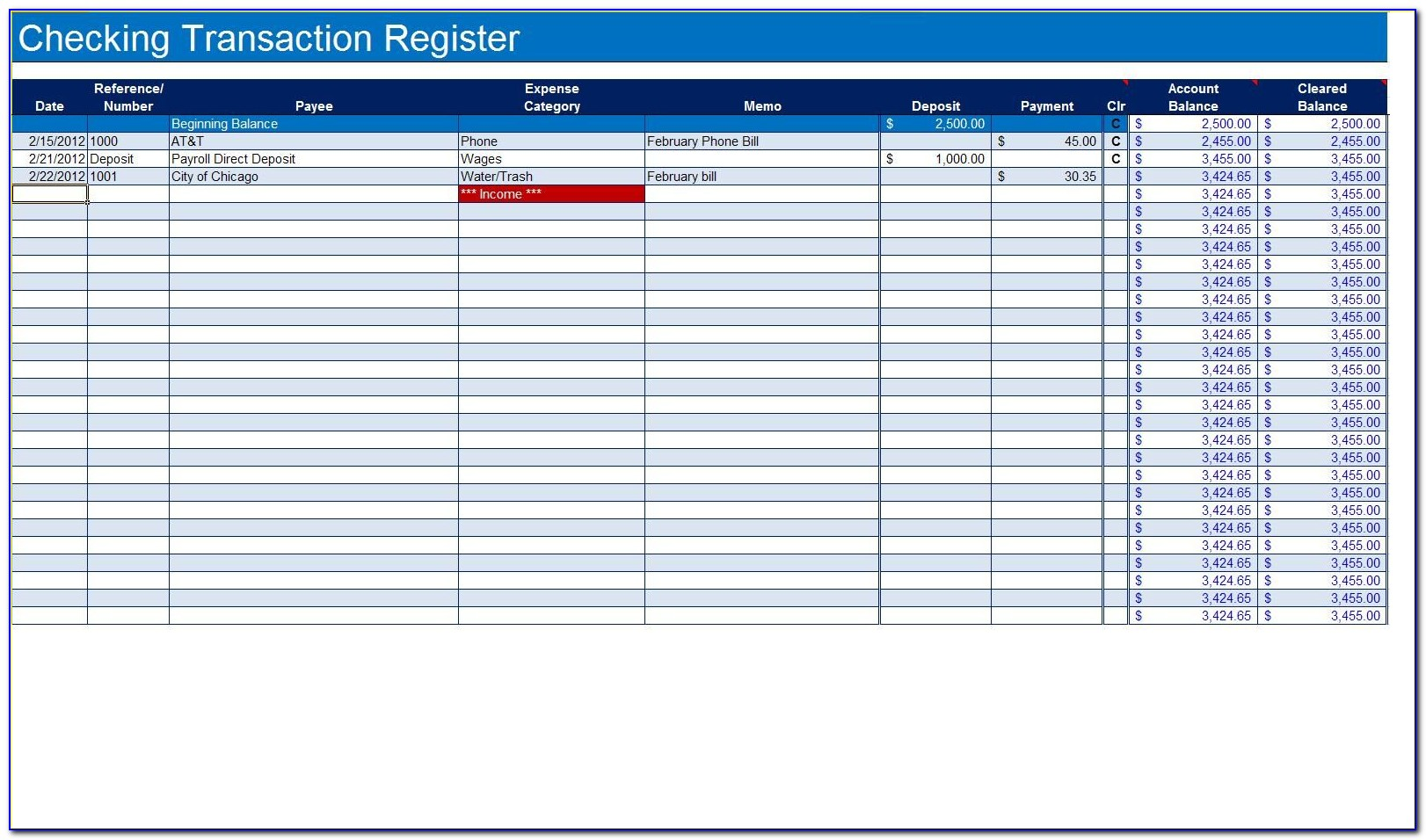 Excel Business Expense Tracker Template