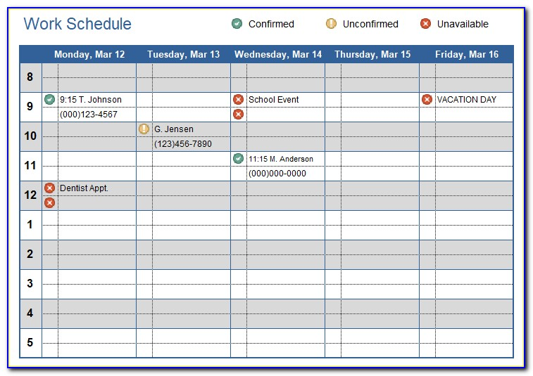 Excel Calendar Work Schedule Template