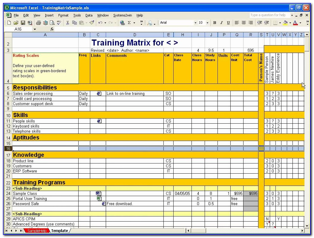 Excel Employee Training Matrix Template