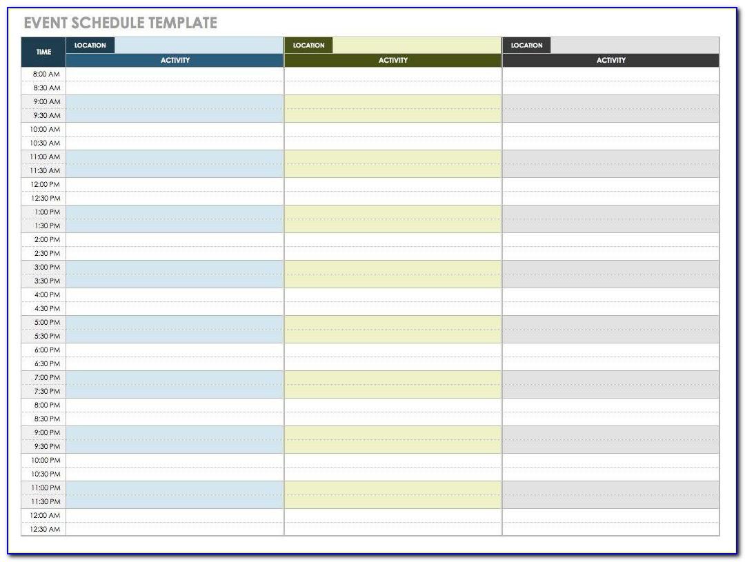 Excel Event Planner Schedule Template