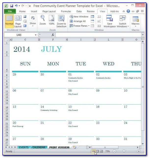 Excel Event Planner Template