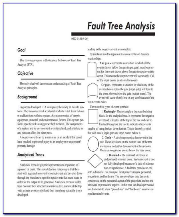 Excel Fault Tree Analysis Template Free