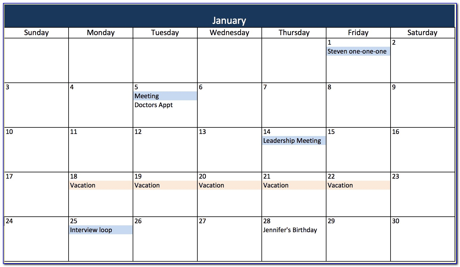 Excel Monthly Calendar Template Free
