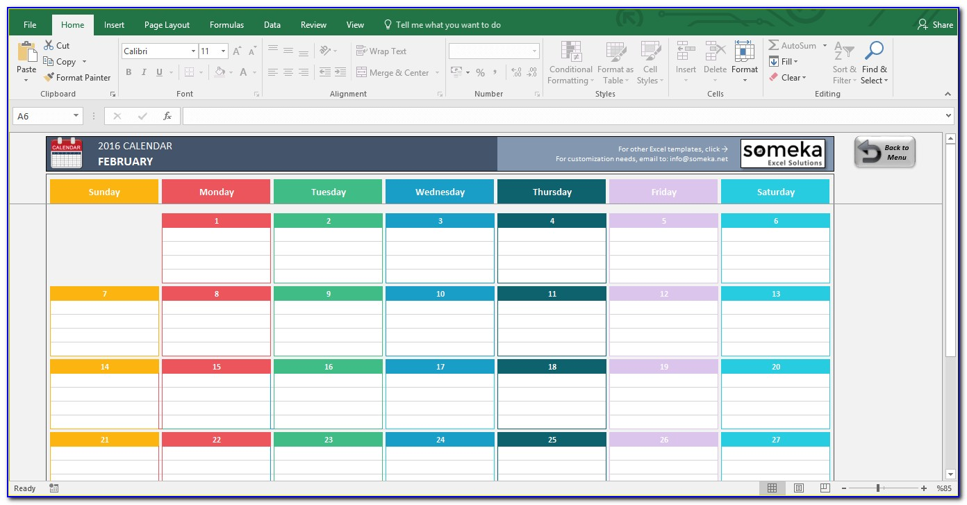 Excel Monthly Calendar Templates 2018