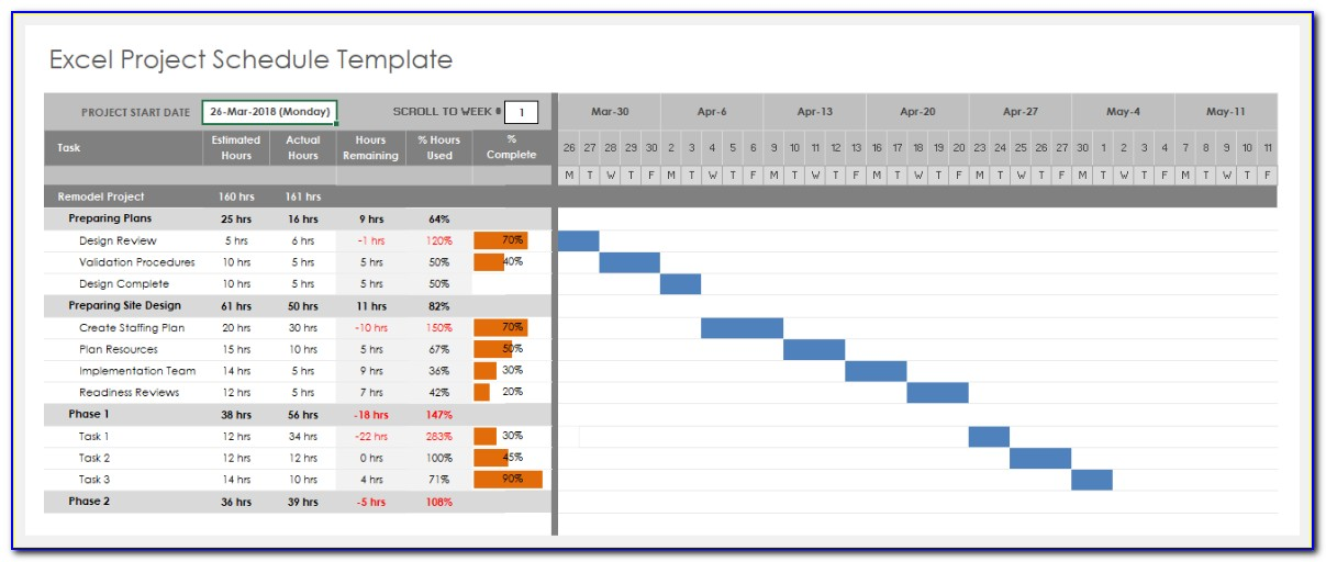 Excel Project Schedule Template Download