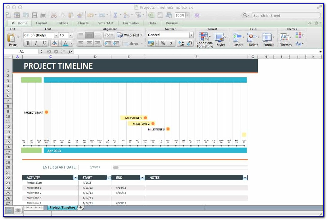Excel Project Timeline Example