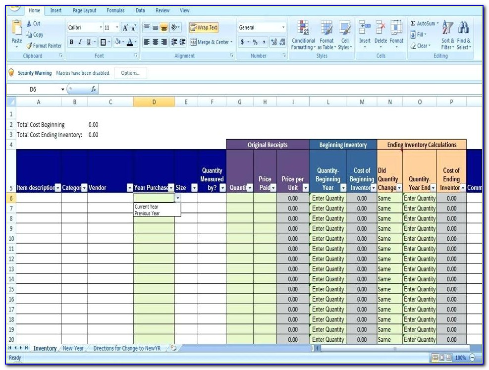 Excel Retail Inventory Template