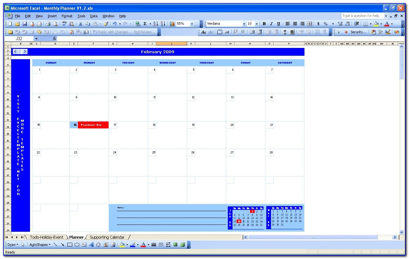 Excel Template For Monthly Work Schedule