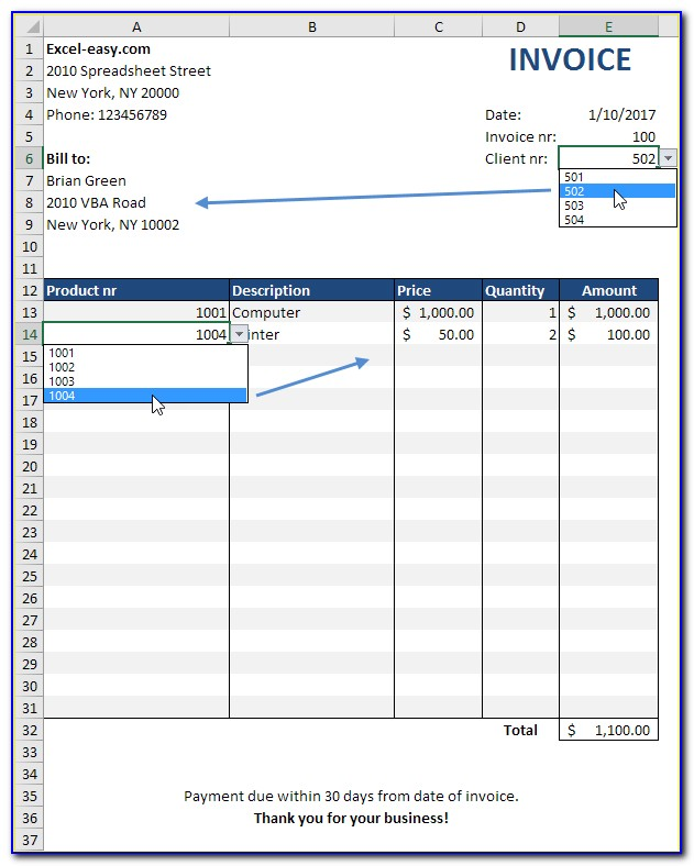 Excel Template For Sales Invoice