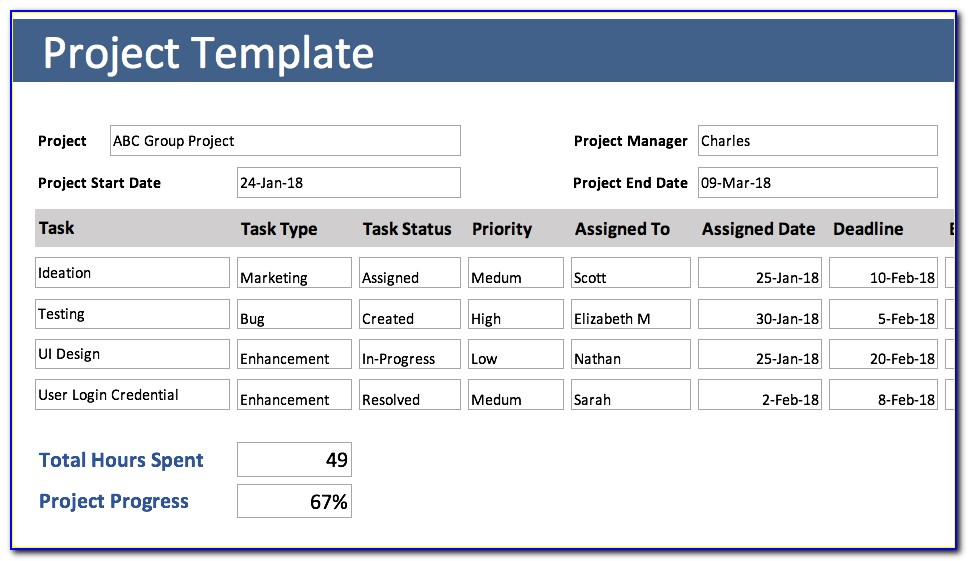 Excel Template Project Management Free