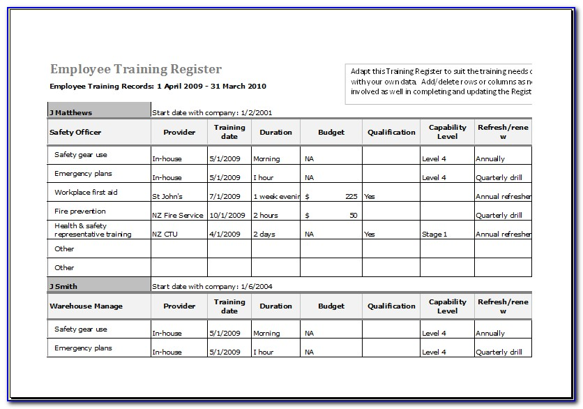 Excel Template Training Records