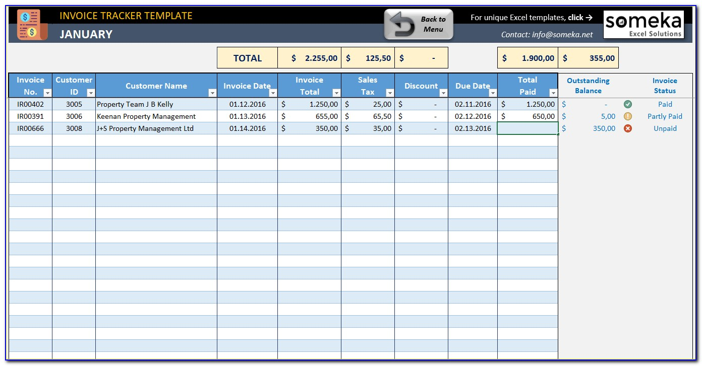 Excel Templates For Invoice Tracking