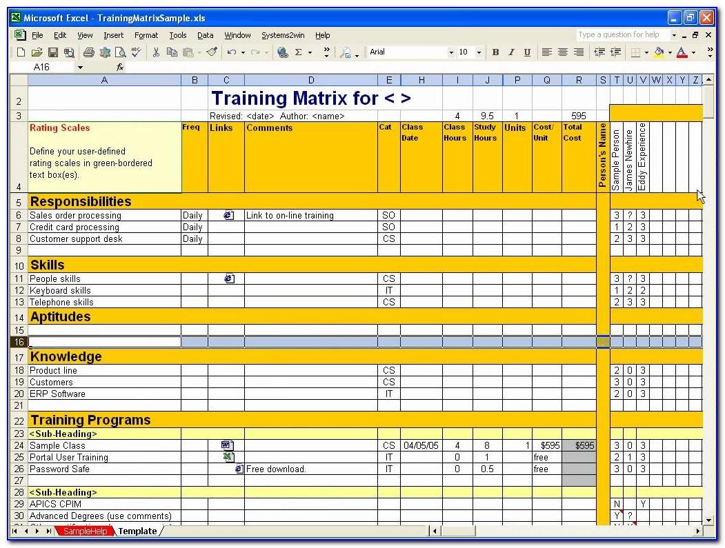 Excel Training Matrix Template Free