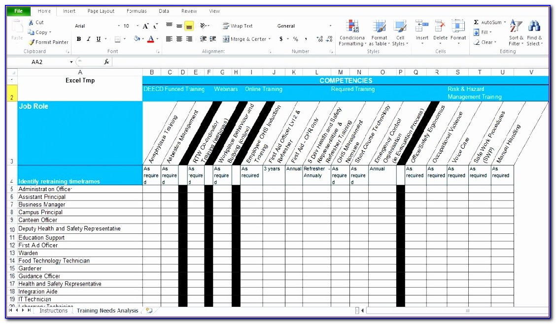 Excel Training Plan Template Free