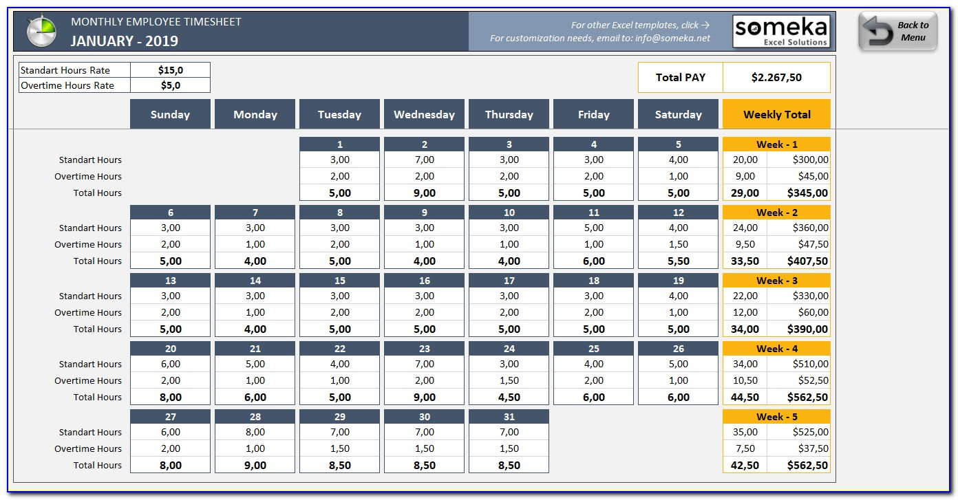 Excel Work Schedule Template Monthly