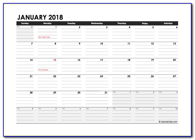 Excel Yearly Planning Calendar Template