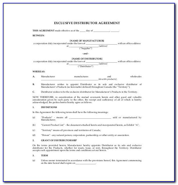 Exclusive Distribution Agreement Template Australia