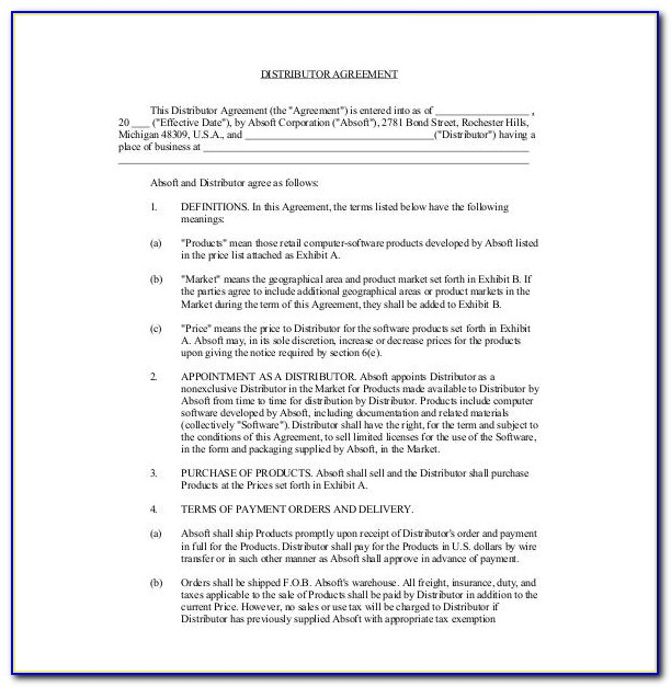 Exclusive Distribution Agreement Template Pdf