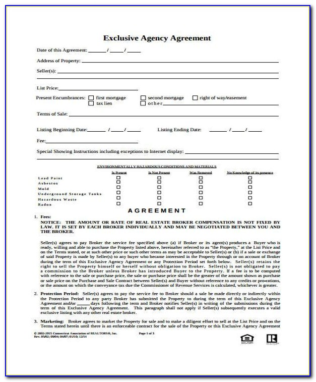 Exclusive Sales Agency Agreement Nsw Template