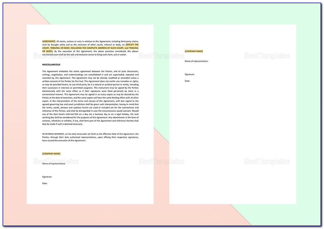 Exclusive Sales And Marketing Agreement Template