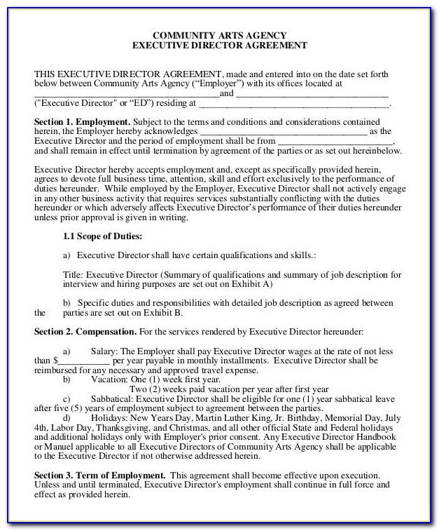 Executive Director Employment Contract Sample