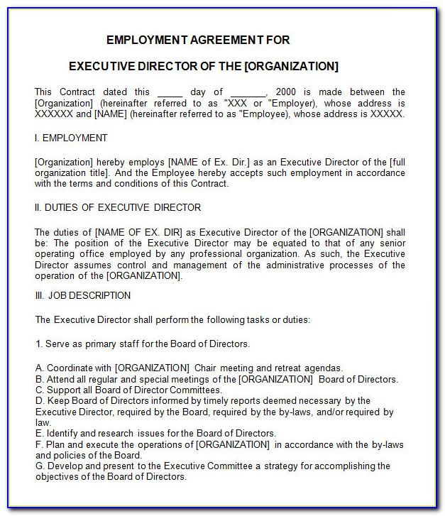 Executive Employment Contract Form