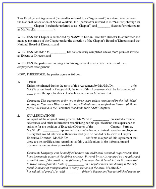 Executive Employment Contract Template Free