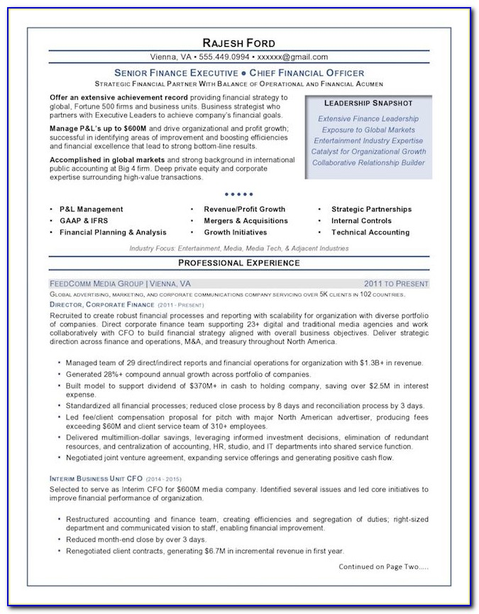 Executive Resume Template Download Free
