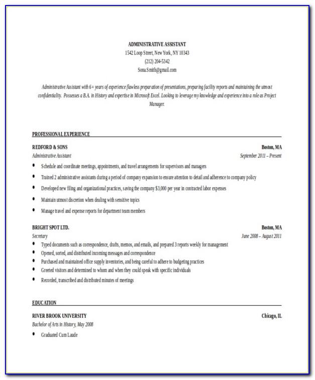Executive Resume Templates Download