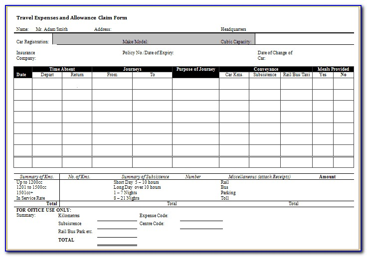 Expense Form Templates Free