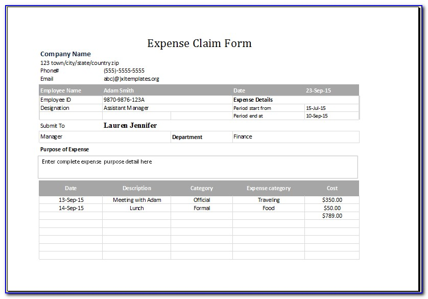 Expense Report Spreadsheet Template Excel