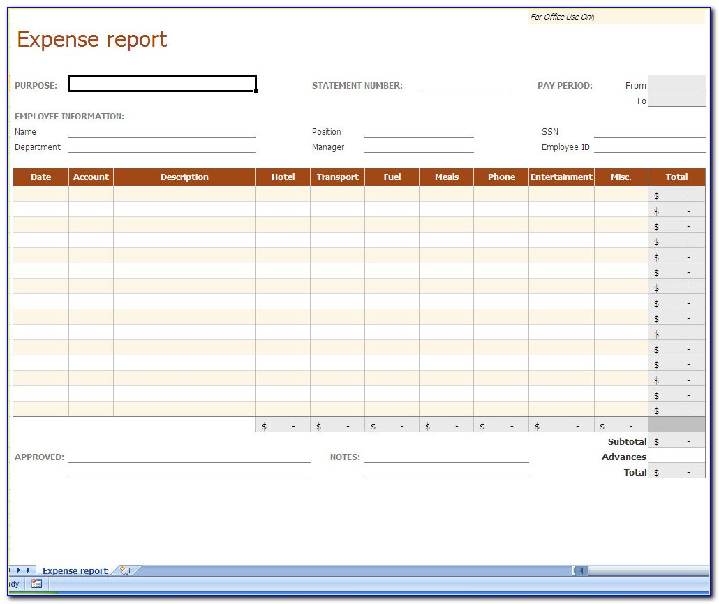 Expense Report Template Oracle