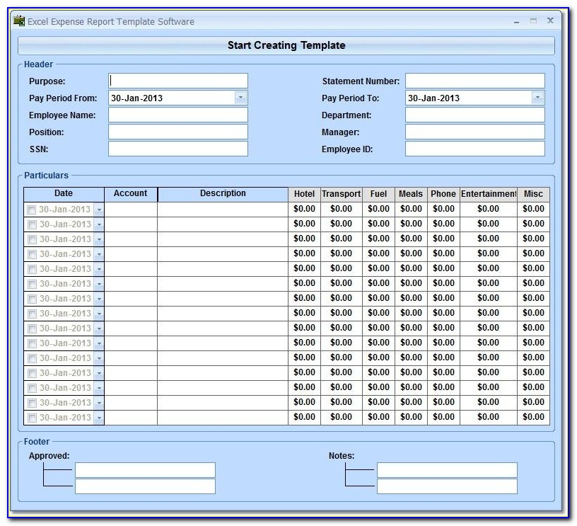 Expense Reports Templates Free