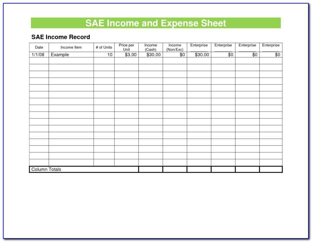 Expense Sheet Format Excel