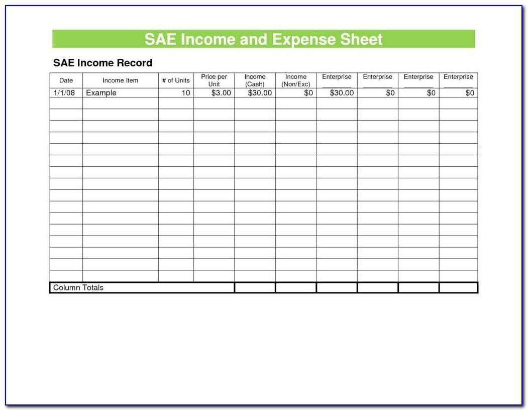 Expense Sheet Format Excel