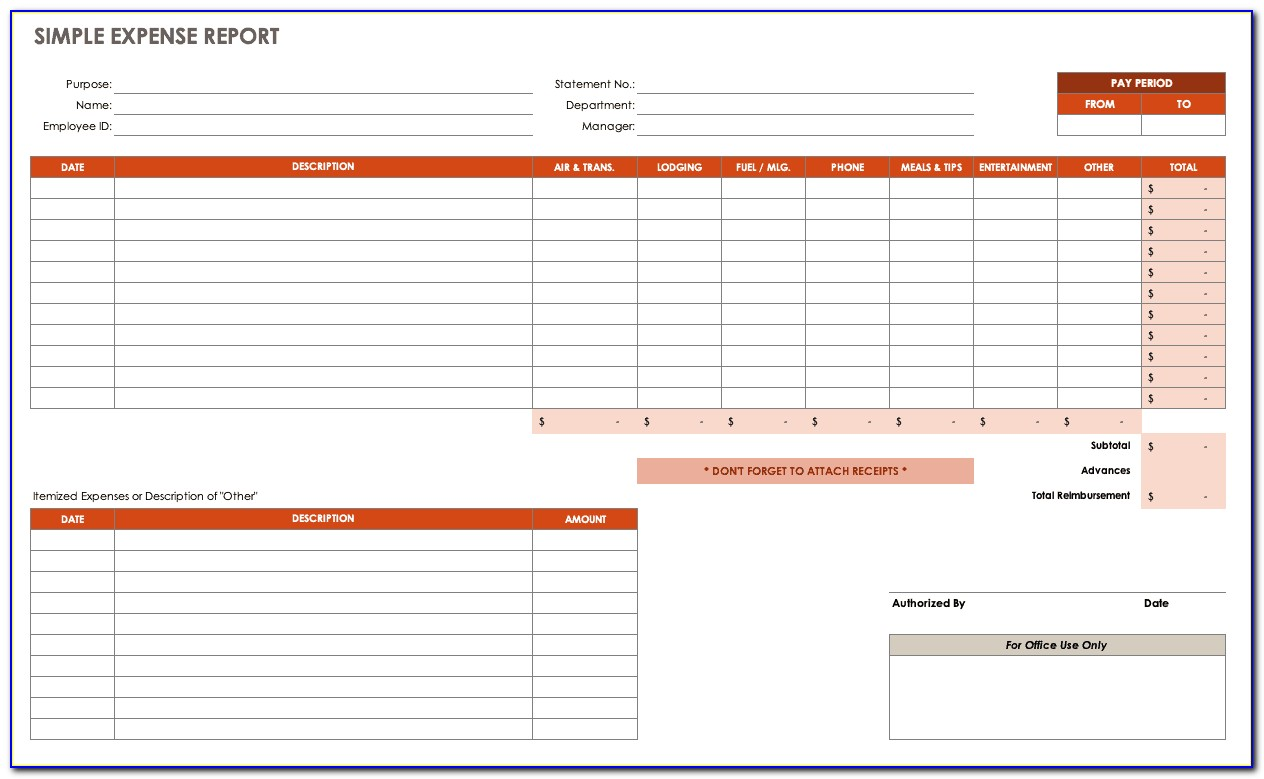 Expense Sheet Sample Excel