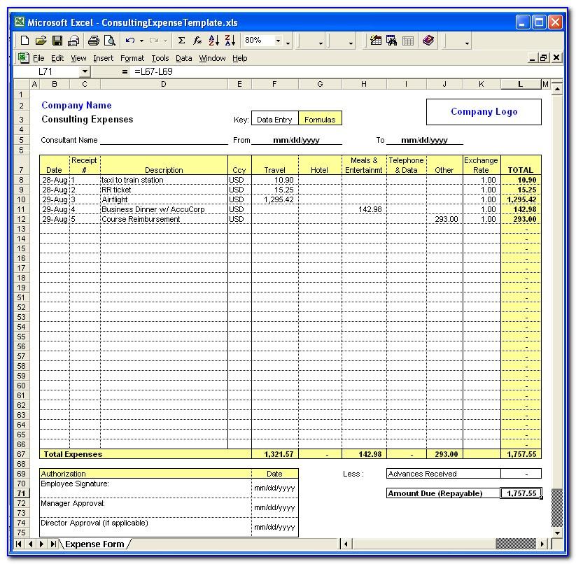 Expense Sheet Template Mac