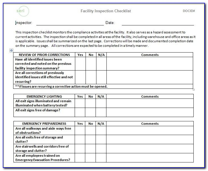 Facility Maintenance Schedule Template