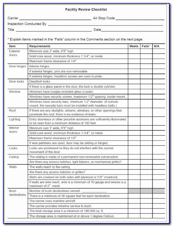 Facility Preventive Maintenance Checklist Template