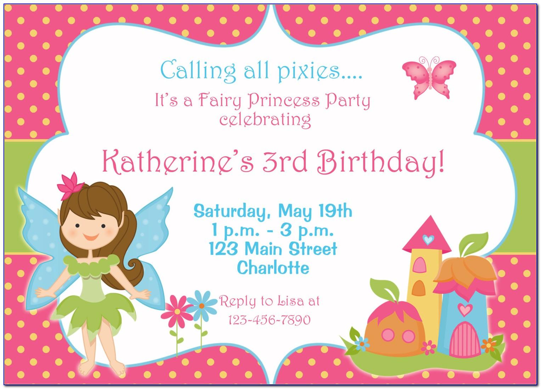 Fairy Princess Invitation Template Free