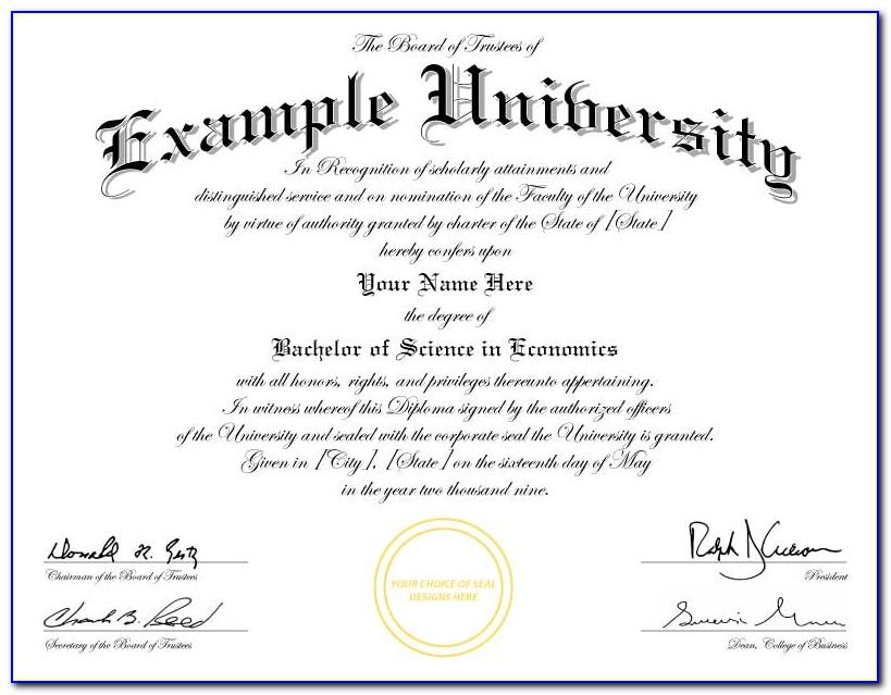 Fake Bachelor Degree Template