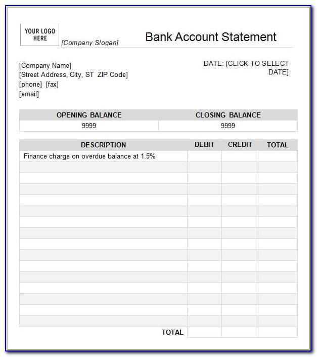 Fake Bank Statement Template Free Uk